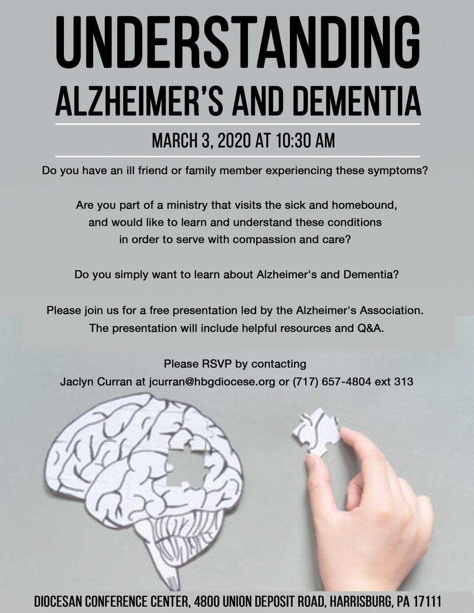 Please join us for a free presentation led by the Alzheimer's Association. The presentation will be held at the Diocesan Conference Center on March 3, 2020 at 10:30 am. RSVP by contacting Jaclyn Curran at jcurran@hbgdiocese.org or (717) 657-4804 ext 313 #alzheimersawareness pic.twitter.com/q62AWXAvcI
