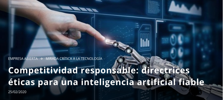 Competitividad responsable: directrices éticas para una inteligencia artificial fiable  https://www.consultorartesano.com/2020/02/competitividad-responsable-directrices-eticas-para-una-inteligencia-artifical-fiable.html  … por @juleniturbe  #AI  #IA  #artificialintelligence  #inteligenciaArtificial  #competittividad  #ética  #ethics  #fiabilidad  #BigData  #GIGeconomy  #tecnología