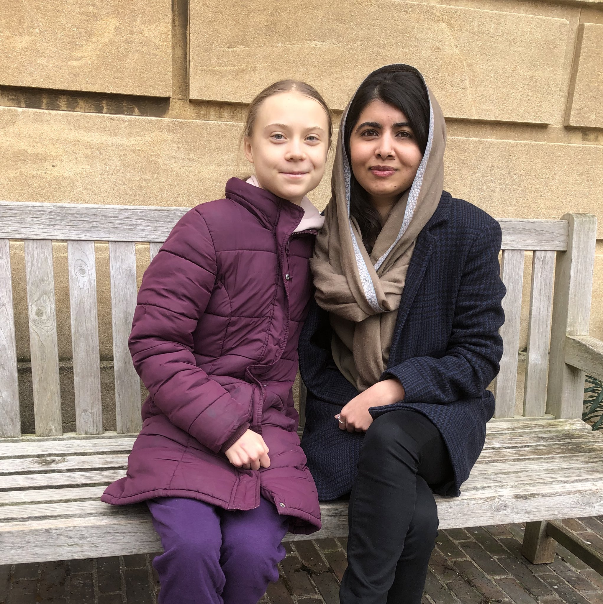 Another photo of Greta Thunberg and Malala Yousafzai.