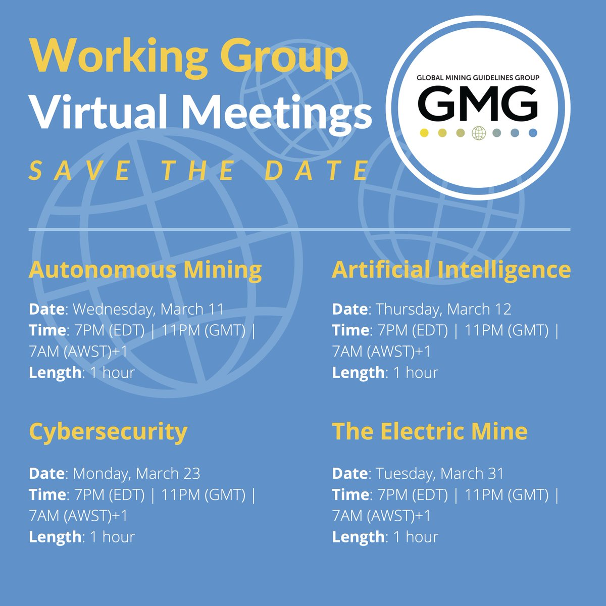 Collaborate and innovate with GMG in the fast track implementation of technologies in our industry! We are kicking off a series of virtual meetings in March on #Autonomous  #Mining , #ArtificialIntelligence , #Cybersecurity  and #TheElectricMine ! Learn more:  http://ow.ly/OrBA50yuvjU