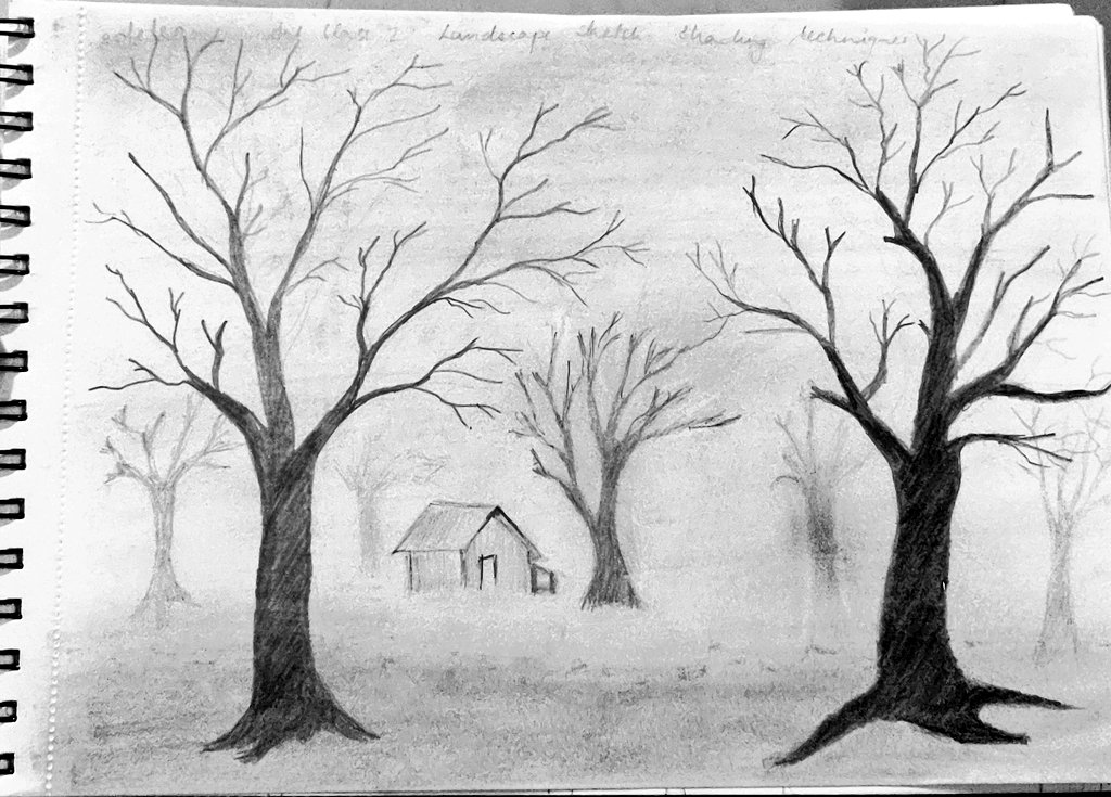 The completes scenery. Practice for different levels of shading.   #pencilsketch #artclass #amateurartist #shading pic.twitter.com/sx5th9ZkLk