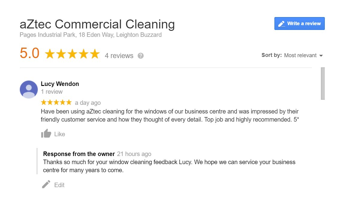 #ThankYou Lucy for taking the time to share your review of our #CommercialWindowCleaning for your business centre.   We cover #Buckinghamshire, #Northamptonshire, #Bedfordshire, #Hertfordshire and #Oxfordshire.  Call 01525 372322 or visit  for a FREE quote.