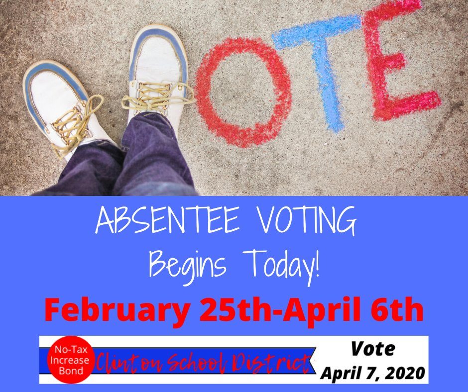 The April 7th No-Tax Increase Bond election is 6 weeks from today!  Absentee voting for the election begins today, Tuesday, February 25th.  More info here: https://t.co/Fthj9XAnGY  @HenryElementary @CIScards345 @CMSCardinals @CHSCards @ClintonTechSch https://t.co/WElpRLLtrB