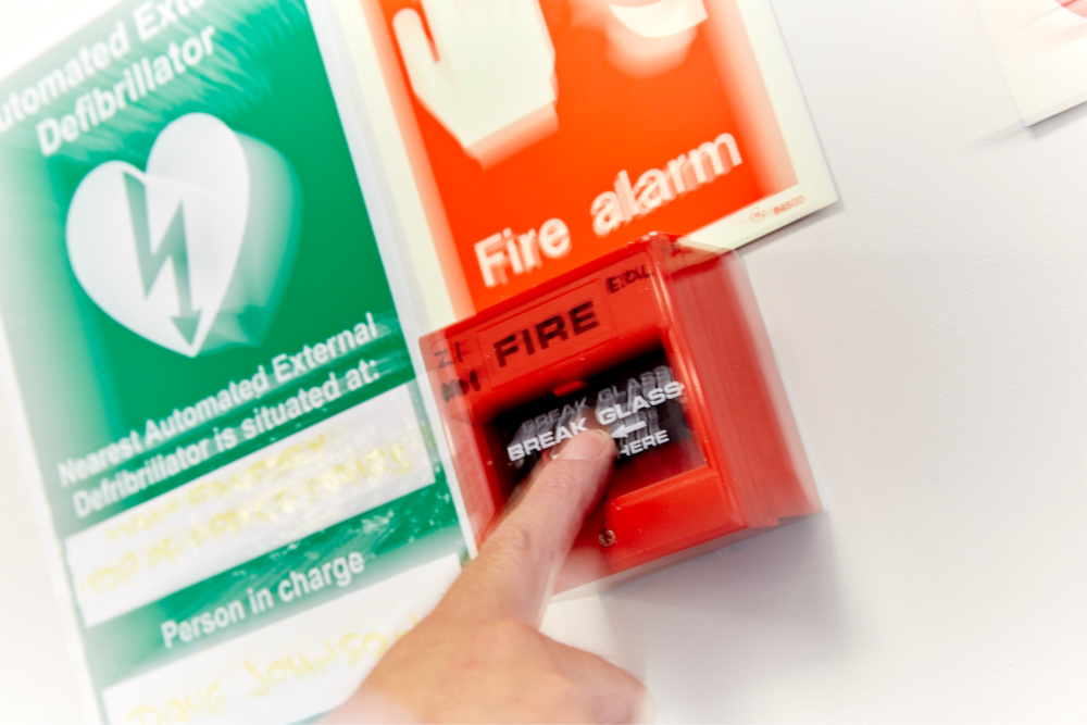 The nearest fire warden is located Safety sign