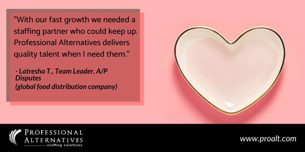 Meeting our clients and building strong relationships is key to finding the perfect candidate for their business needs. Read about what they have to say:https://www.proalt.com/testimonials/ #ClientLove #WeLoveReviews #Valentines2020 #Staffing #Recruitingpic.twitter.com/ICqQCpMnh3