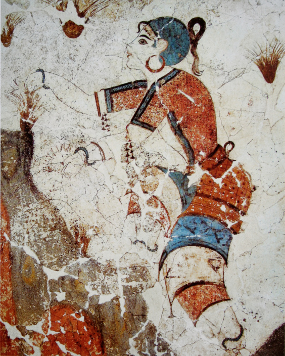 Saffron gatherer in fresco from Akrotiri,Thera island,Cyclades,Greece.2nd Millennium BC. <br>http://pic.twitter.com/7CZ8SxImDT