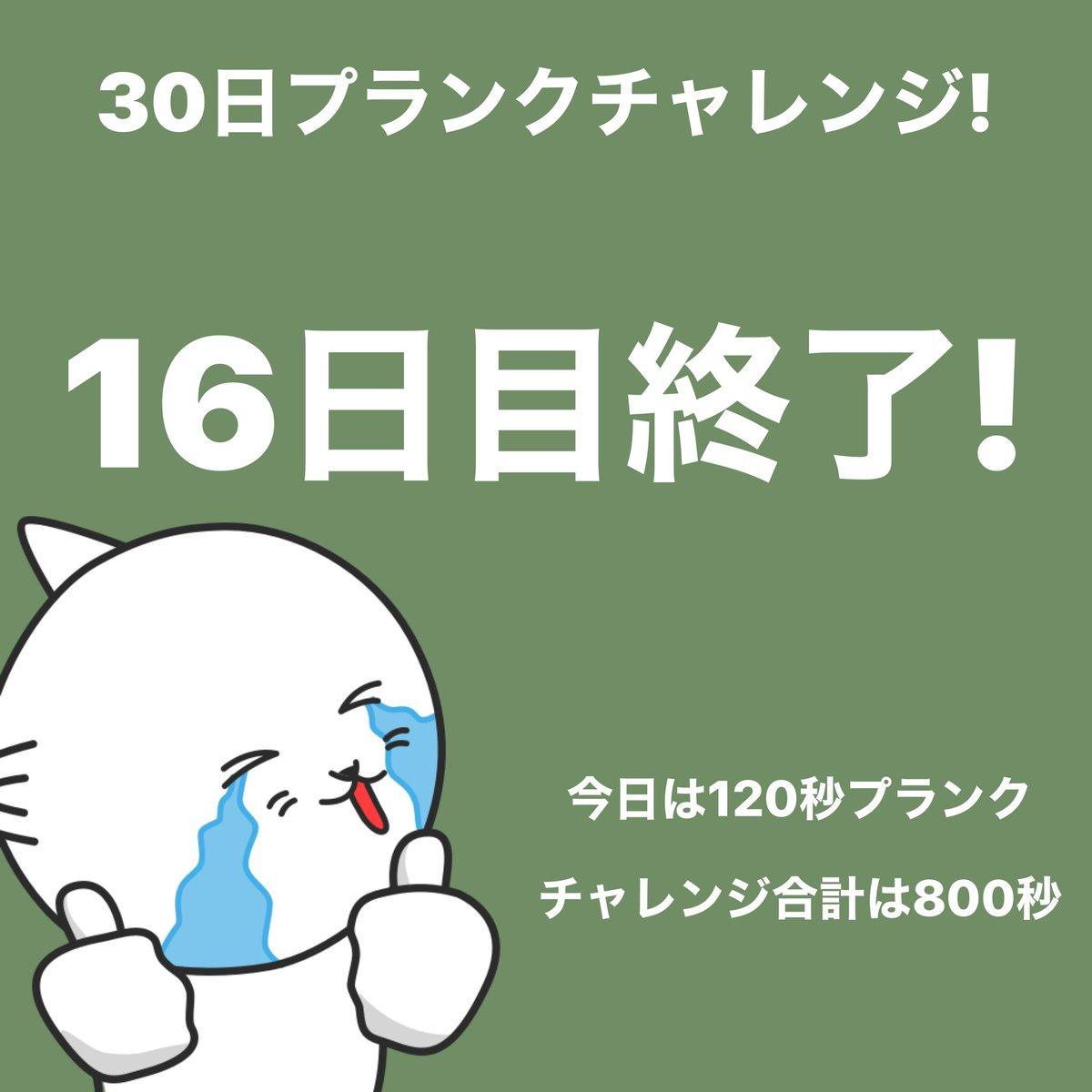 #プランクチャレンジ 16日目終了!今日は120秒プランクしました。 #30日チャレンジ