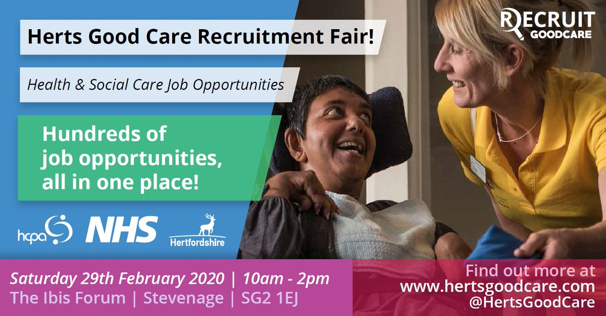 Come along to meet friendly employers from across #Hertfordshire's health and social care services. With 100s of roles on offer there really is something for everyone! If you would like to make a difference, think about a career in care, visit