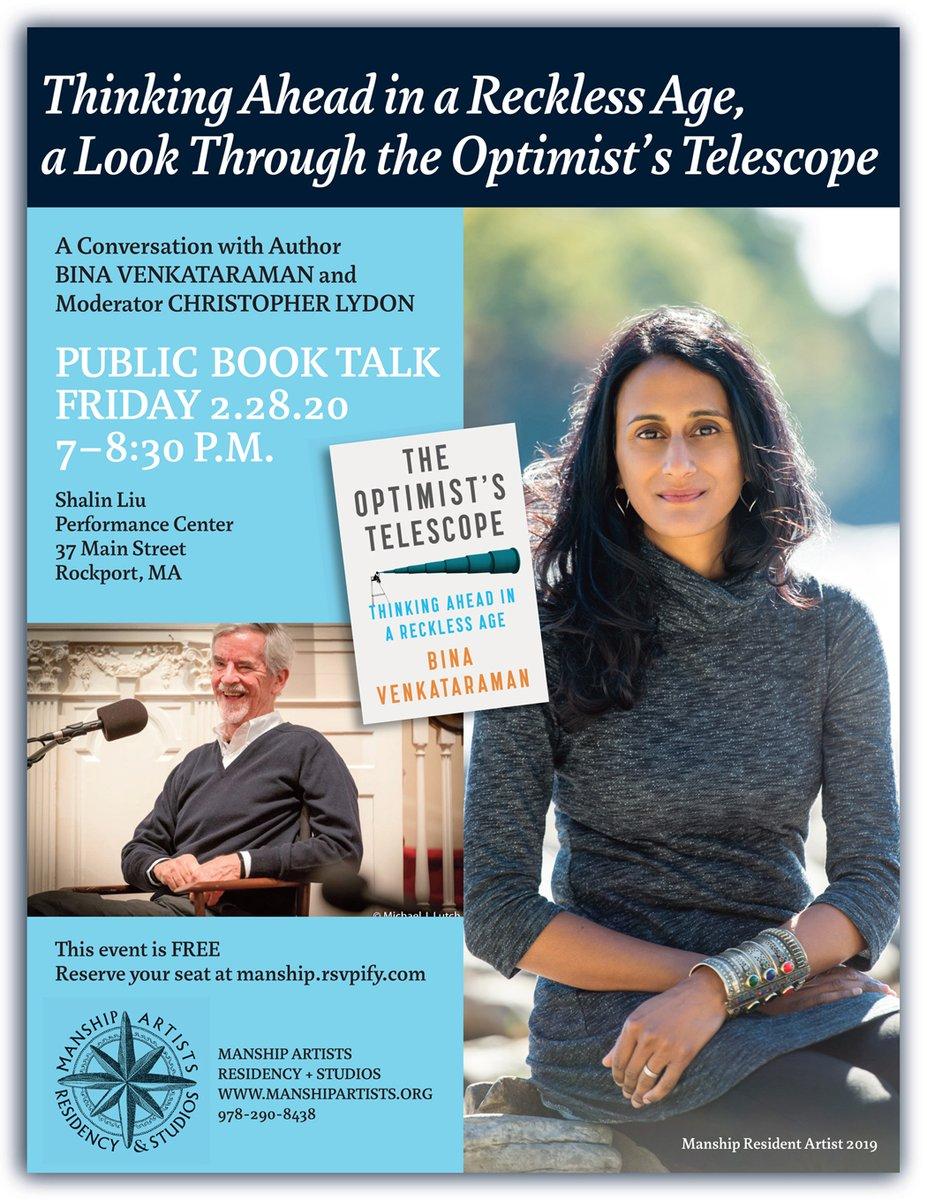 120 RSVPs in rising like the tide - Save your seat with Bina Venkataraman + Christopher Lydon, free Public #BookTalk https://tinyurl.com/rk6fynz  please share @HowlRound @ucsusa @BostonArtists @MyGlobeNorth @MaritimeGlou @1623Studios @MassClimate #ClimateChange #ClimateActNowpic.twitter.com/3RDEv5sNtq