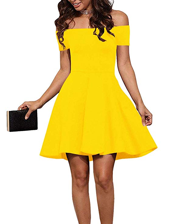 Over 65% Off!!!  EZBELLE Womens Off The Shoulder Short Sleeve Cocktail Skater Dress    #BwcDeals #Deals #dailydeals #PublicSchoolsWeek #fashion