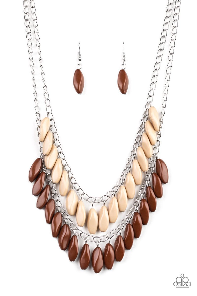 Beaded Boardwalk - Brown $5  405-492-7250  #paparazziaccessories #dollarhabit #paparazzijewelry #dollarbling #jewelry #paparazziconsultant #dollarjewelry #fashion #leadandnickelfree #paparazzi #joinmyteam #fivedollarhabit #necklace #affordablefashion