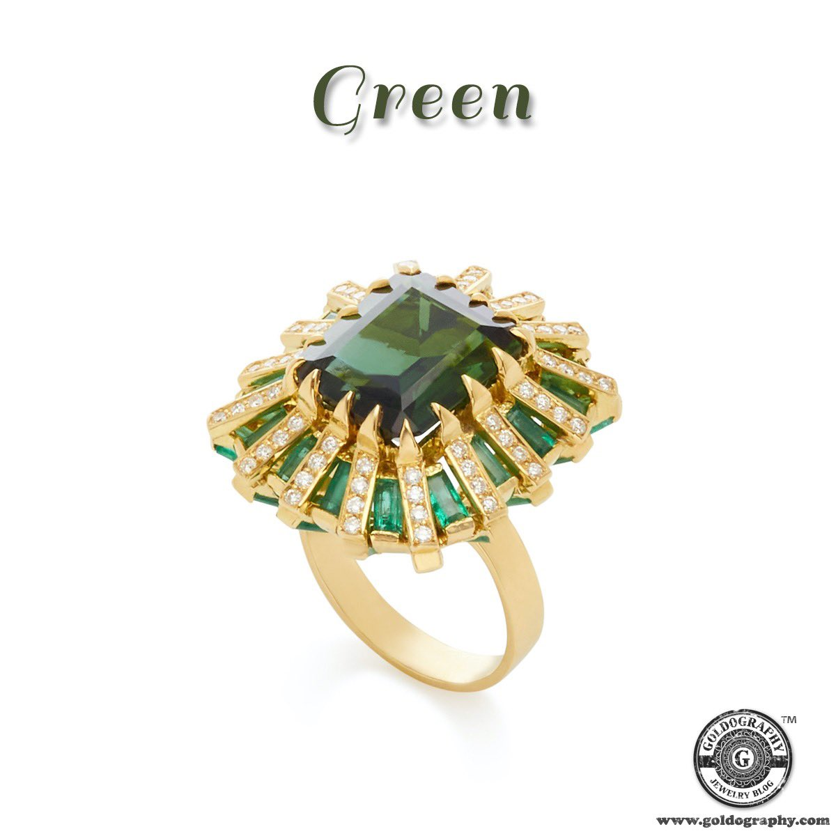 Carol Kauffmann handcrafted ring showcases the shimmering baguette-cut sapphires and faceted green tourmaline stone #CarolKauffmann #18K #YellowGold #Ring #GreenTourmaline #GreenSapphires #Diamonds #Luxury #Gems #Gemstones #Style #Trendy #Fashion #Fashionista #Jewelry #Jewellery