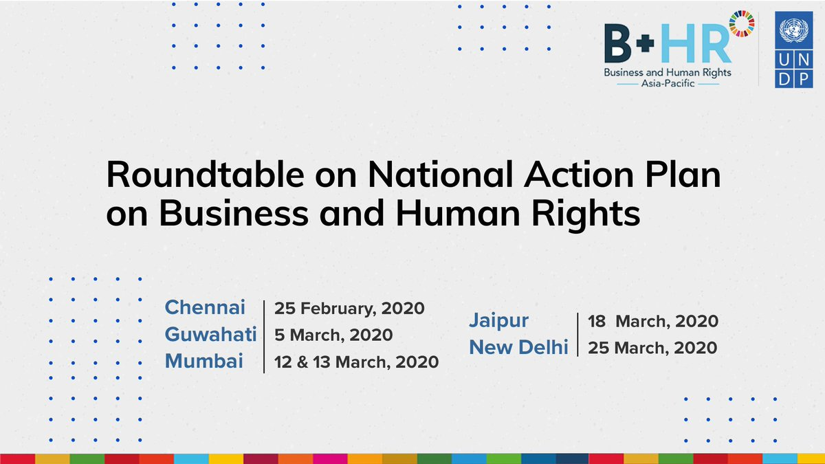 Collective action is needed to #LeaveNoOneBehind. @UNDP hosted the 1st of the 5 roundtable discussions w/ CSOs in Chennai on #humanrights violation in businesses. Recommendations will help the Min of Corp Affairs, GOI in preparing the National Action Plan on #BizHumanRights.