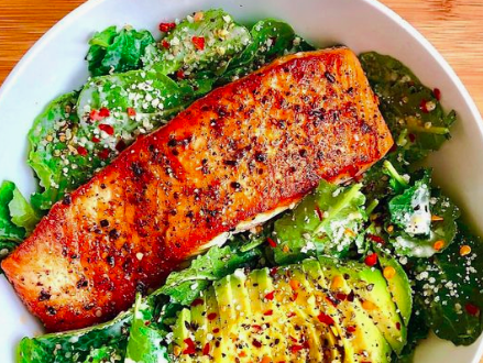 Need a #mealidea ? How about this #salmon , #avocado  and #greens  dish. Itll keep you #lean  and mean. Does it fit your macros? Ask us, and we'll let let you and know and track it. Let Ruby do the work.   #health  #trusttheprocess  #goals  #nutrition  #diet  #keto  #ketogenicdiet  #paleo