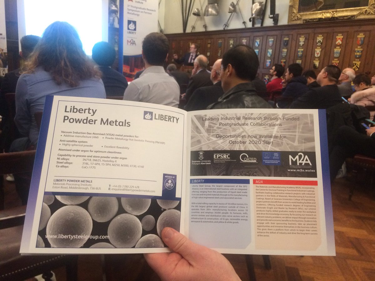 Thank you @LibertyHouseGrp and M2A @coated for sponsoring today's Postgraduate Research Symposium on Ferrous Metallurgy and in doing so helping to strengthen links between industry and academics @ArmourerBrasier @iom #FerrousMet3 #steelpic.twitter.com/sJBTplZ1Iz