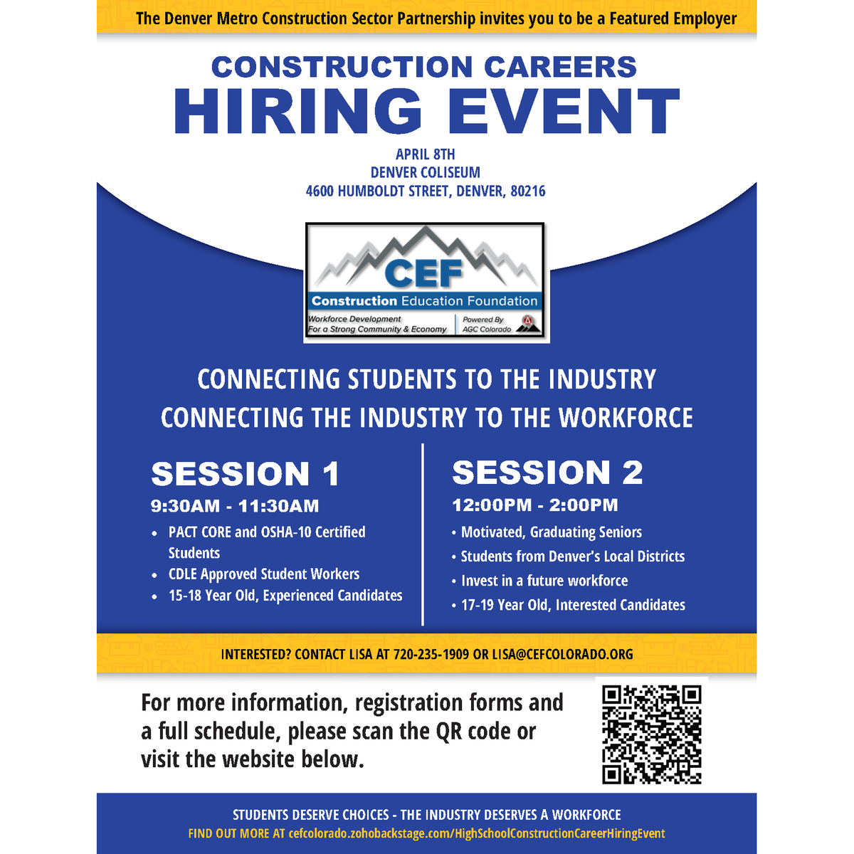 Agc Colorado En Twitter Have You Signed Up For The April 8 High School Construction Career Hiring Event Https T Co G2mxcagjmy Joinus Denver Coliseum Speak To Hs Students From Denver S Local Schools About Summer