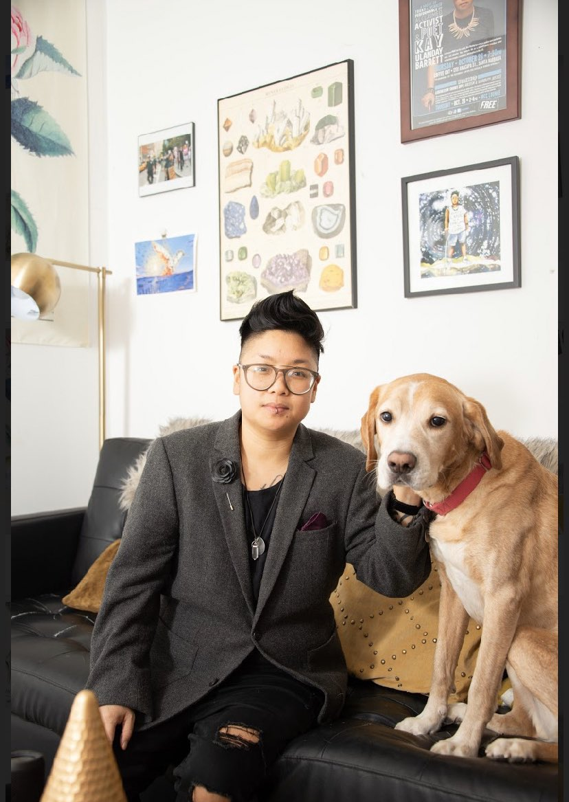 Well here we are, folks. Peak Queer w/ author photoshoot where your own dog upstages you.  Just the two of us featured in our Jersey City home! Photographed by the wondrous @marion_prinsesa!  #queer #dog #chosenfamily pic.twitter.com/jOjChDS9UG
