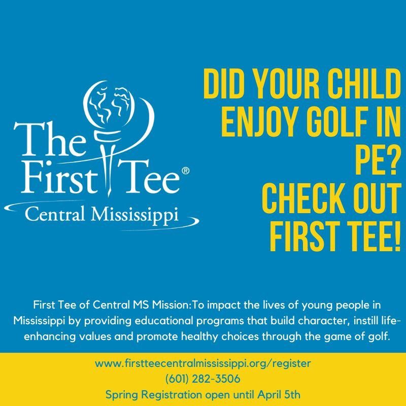 Check out the First Tee of Central MS on Saturday, February 29 at Patrick Farms Golf Club 2-4 pm for our Spring KickOff  @rwatkinsgolf @TheFirstTee #golf #fun #pizza #games #9CoreValues  #9HealthyHabits #LifeSkillsExperience