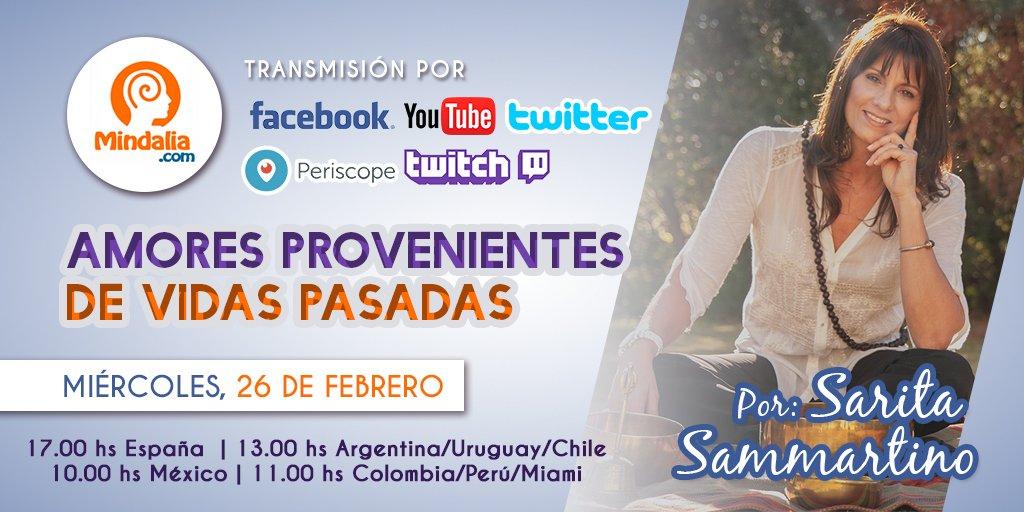 Este 26 de febrero, #SaritaSammartino, en multiplataforma a través nuestros canales de #Youtube, #Facebook, #Twitch, #Periscope y #Twitter, explicará por qué nos #Reencontramos en varias vidas y en diferentes roles, y cómo lo no concluido en una #Vida, se lleva a la otra.