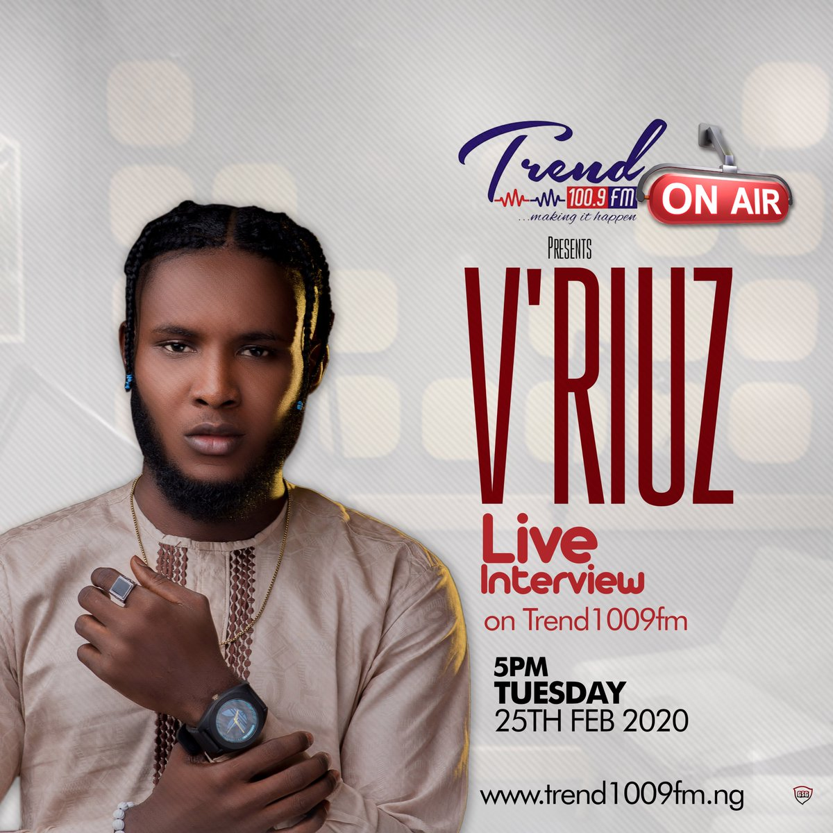 Join the Vibe Machine @official_vriuz On #MusicStudio with @justabitofdrama  ⏲️5:00pm⏲️