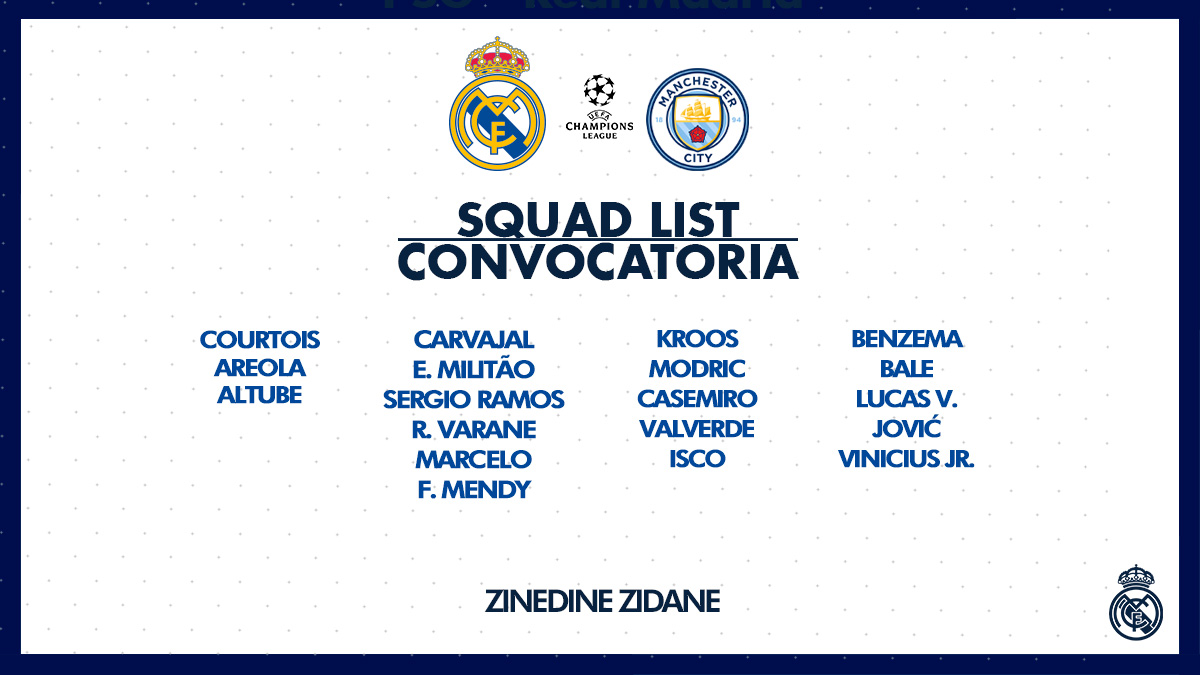 📝 Our 19-man squad for tomorrow's #RMUCL clash with @ManCity! #HalaMadrid