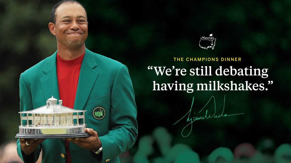 We're a big fan of @TigerWoods' Champions Dinner choices! Who else would include milkshakes on their menu? 🤚 https://t.co/MzC2TzeFPi