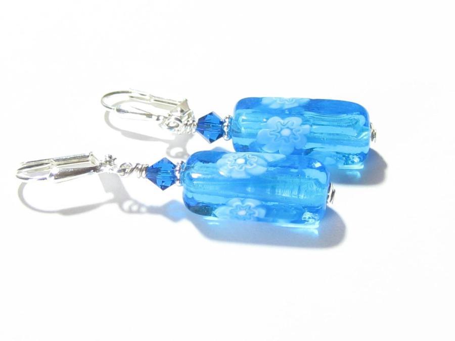 Venetian Glass Aqua Millefiori Tube Silver Earrings, Sterling Silver Leverback Earrings  #handmade #fashion #jewelry #earrings #etsymntt #murano