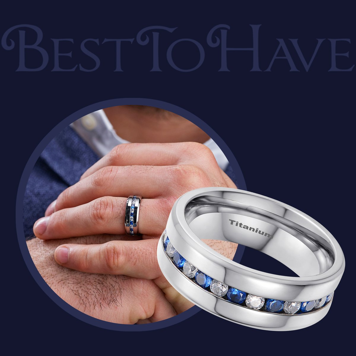 Simulated Blue Sapphire Band Ring Code: 324 £29.99 Shop more:  #Besttohave #Besttohavejewelry #rings #engagement #outfit #outfitoftheday #menrings #weddingrings #lovejewelry #ring #titaniumRing #titaniumjewelry #cubiczirconia #wedding #titanium