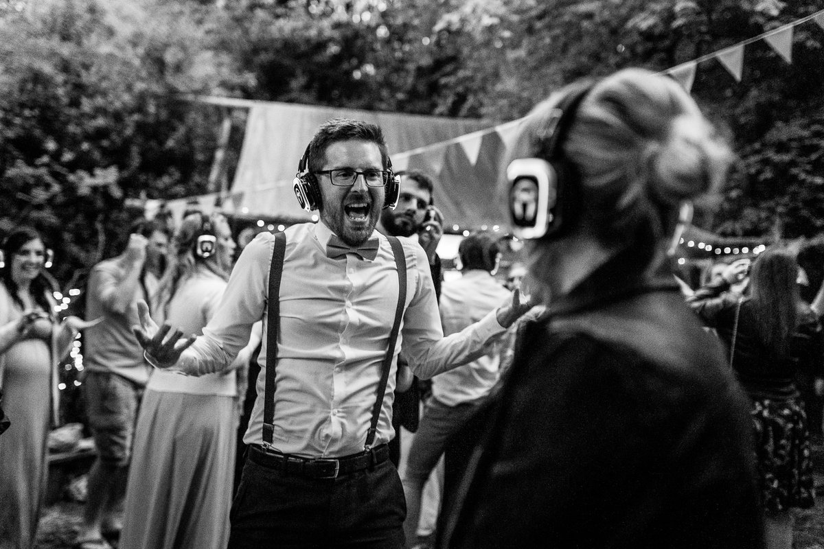 You are not fully immersed in the silent disco unless you are singing out loud... #dorsetweddingphotography #devonweddingphotography #dorsetweddingphotographer #devonweddingphotographer #cornwallweddingphotographer #wildernesswoodwedding #silentdisco #woodlandwedding #wedding