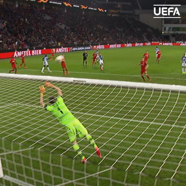 Strong hands from Leverkusen's Lukas Hradecky 👊#UEL | @bayer04_en