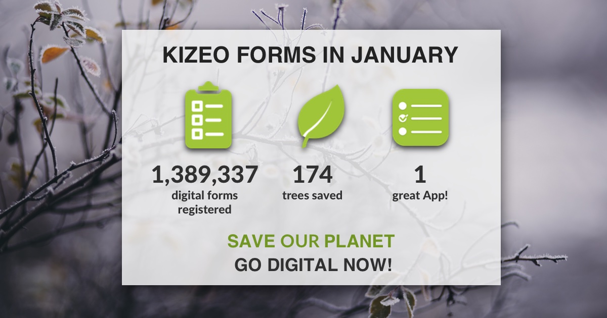 #KizeoForms helped save 174 trees thanks to all the #DigitalForms registered by our users in the month of January #mobileforms #paperless #SaveOurPlanet pic.twitter.com/6w79IuUqbp