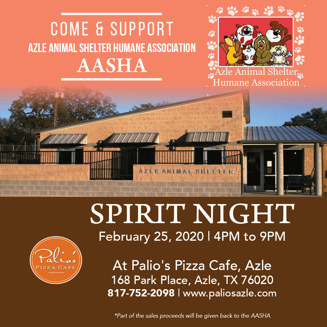 Make dinner a selfless act by joining us today to support Azle Animal Shelter Humane Association [ AASHA] . Please mention you are there to support AASHA when you dine-in! . . . #fundraiser  #spritnight  #Animalsupport  #care  #goodcause  #paliospizzacafe  #paliosazle  #Azle  #Texas