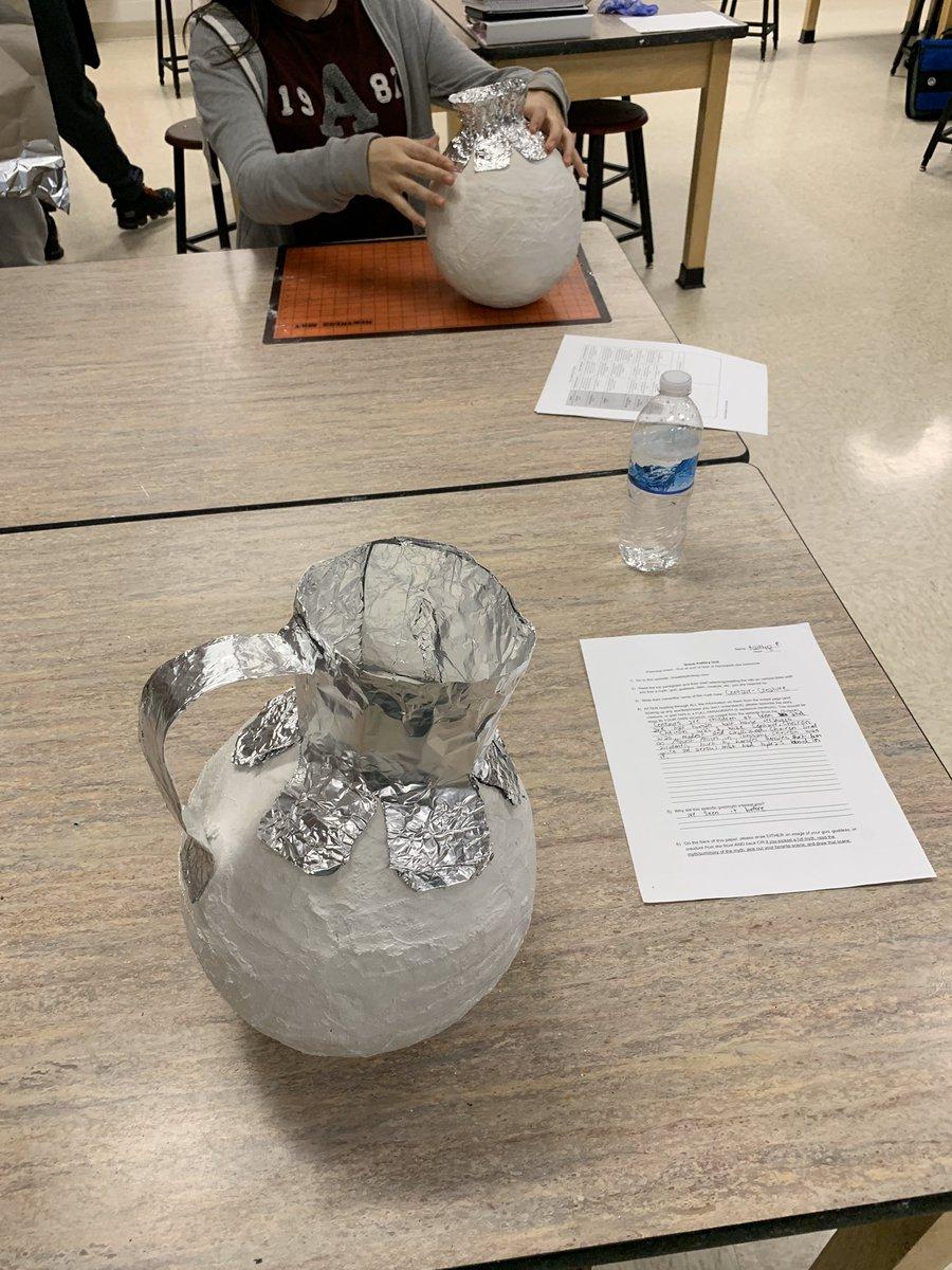 Plaster Greek inspired vases are taking shape in 3D art this morning