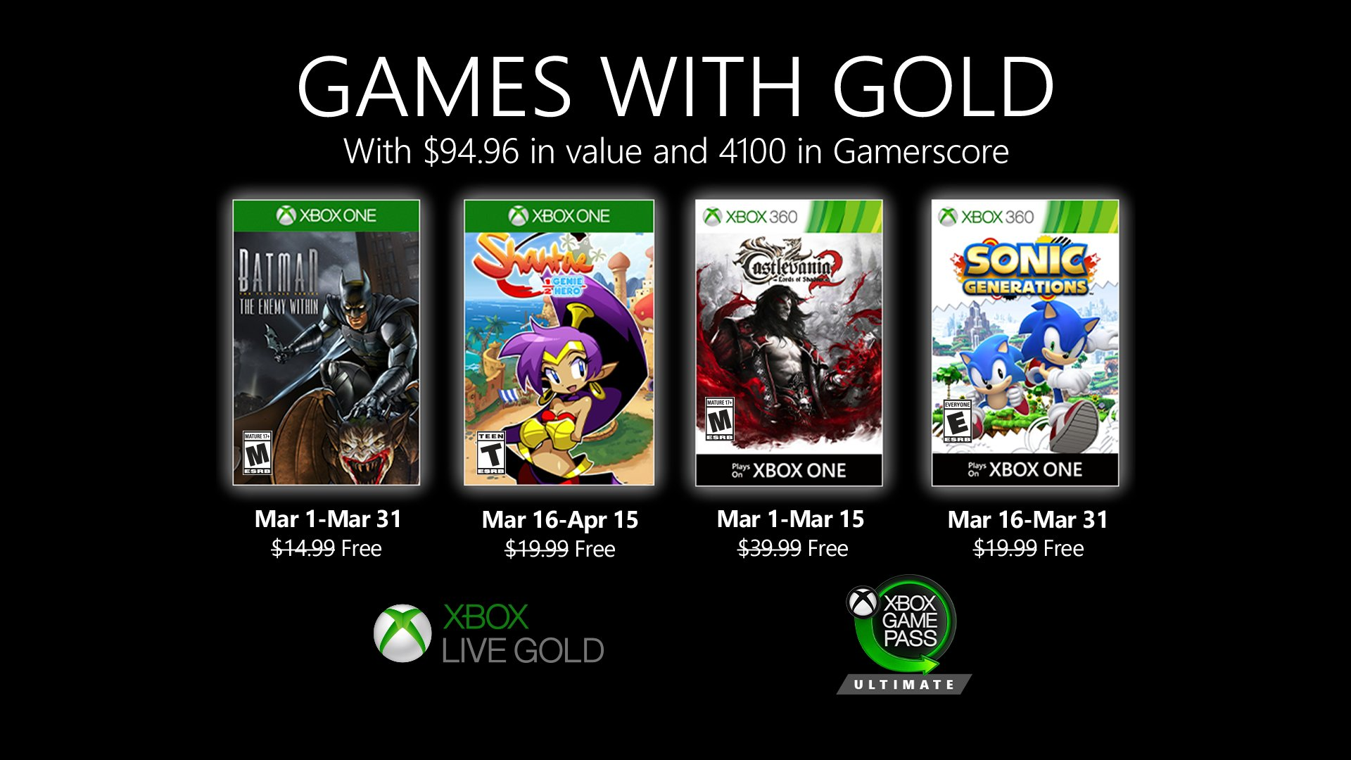 Xbox Live Games with Gold March 2020
