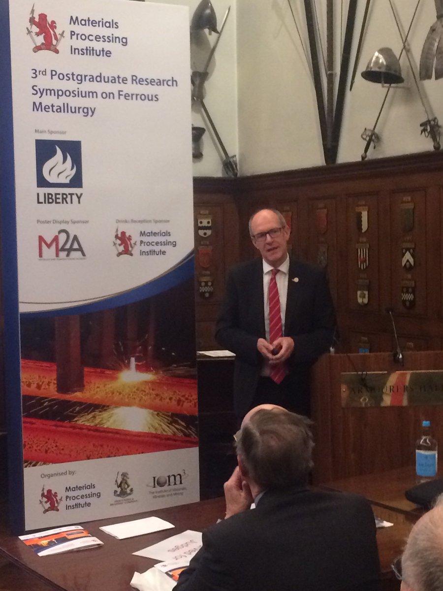 Jon Bolton @LibertyHouseGrp talks about sustainable #steel at today's Postgraduate Research Symposium on Ferrous Metallurgy @ArmourerBrasier @iom3 #FerrousMet3pic.twitter.com/XfiGg2fDuG