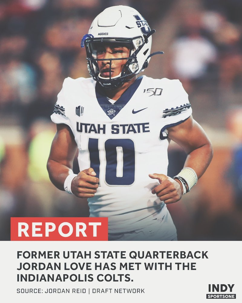 "Former Utah State QB Jordan Love has met with the Indianapolis Colts.   He says they are a team he would ""love"" to play for. <br>http://pic.twitter.com/skcMFqoqhv"
