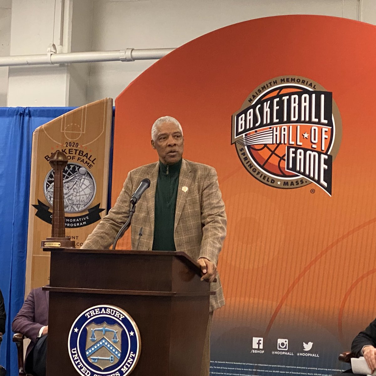 United States Mint hosted members and supporters of the Naismith Memorial Basketball Hall of Fame today at a ceremonial striking of the 2020 Basketball Hall of Fame Silver Dollar coin.