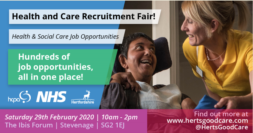 There will be 100's of roles on offer on Saturday at Herts Good Care #recruitment event. Come along to meet teams from across #Hertfordshire's #health and #social care sector if you would like to make a difference. … #jobs @hertscc