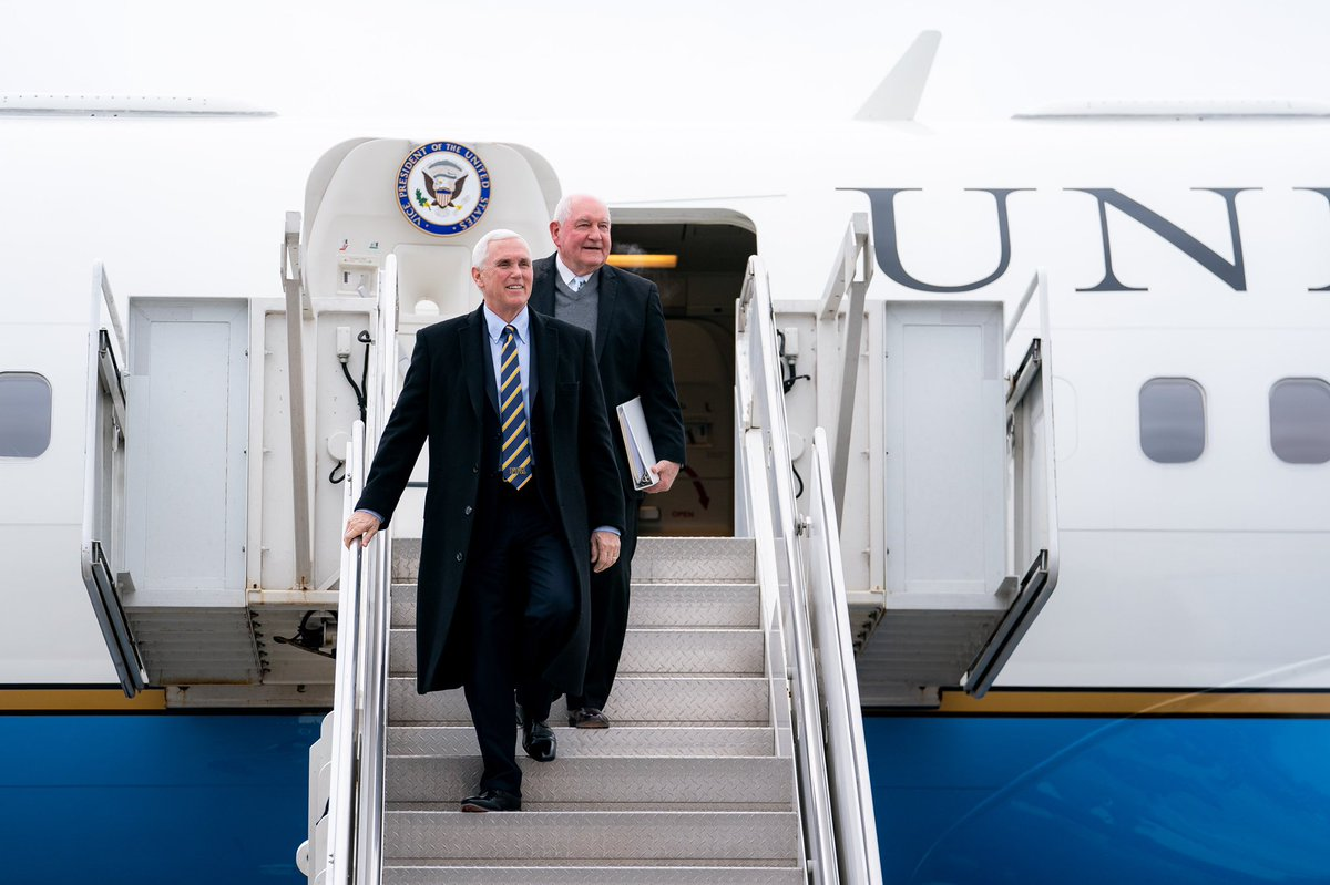 Just arrived in the great state of Michigan with @SecretarySonny to deliver remarks to the Michigan Farm Bureau Lansing Legislative Seminar. Thank you to our farmers for all they've done to stand with President @realDonaldTrump!