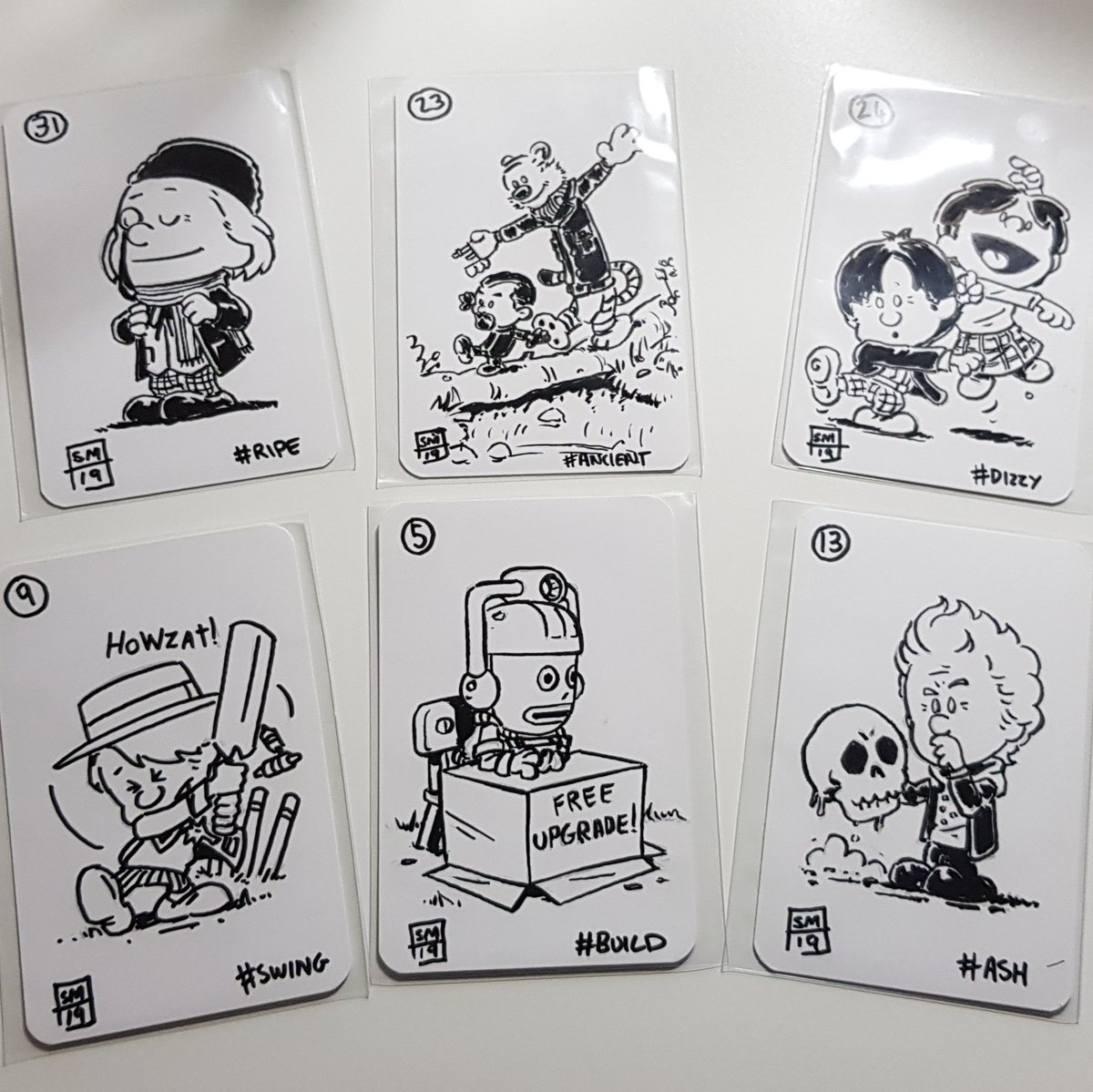 Protective covers for the #Inktober2019 playing card art I did have been bought.   Here are some samples. Next step, figure out best approach for selling them.  #DoctorWhopic.twitter.com/uq09JLP8ui