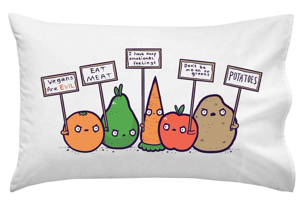 Sleep tight with this  Protesting Vegetables Pillow Case! Perfect for your family and friends. ⁠   #comic #funny #pillow #pillowcase #case #bed #art #illustration #comics #draw #humor #artwork #decor #pillows #cushion #home #linen #protest #food #fresh