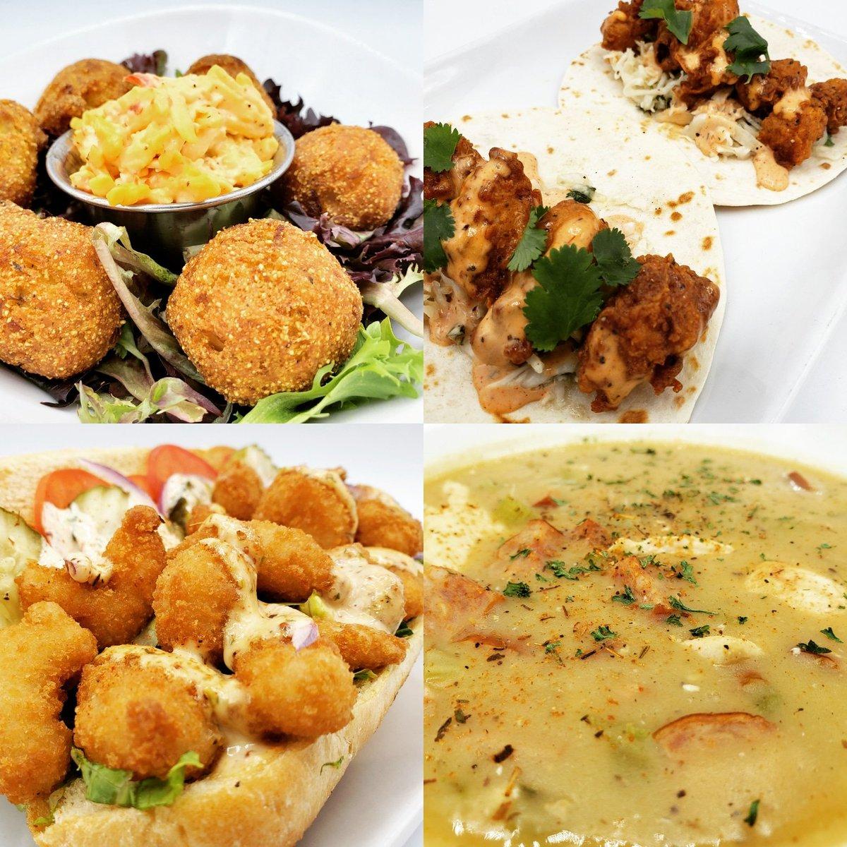 HUSH PUPPIES,  PIMENTO CHEESE, SHRIMP POBOYS, SAUSAGE AND CHICKEN GUMBO! It's #MARDIGRAS and #battleandbrew has all the favorites for you here! I DO DECLARE! #foodporn #food #geekbar #atlanta #atl #noms #cajun #cajunfood #shrimp #gumbo #hushpuppies