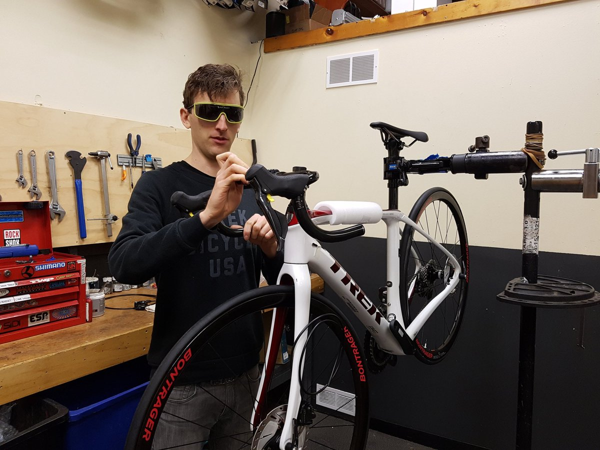 Only 4 days left to save on our comprehensive tune. Come see this guy, he will get you set up with the deal!  #service #save #toocoolforschool #trek #domane #bikeshop #mechanic #guelph #downtownguelph #cycling