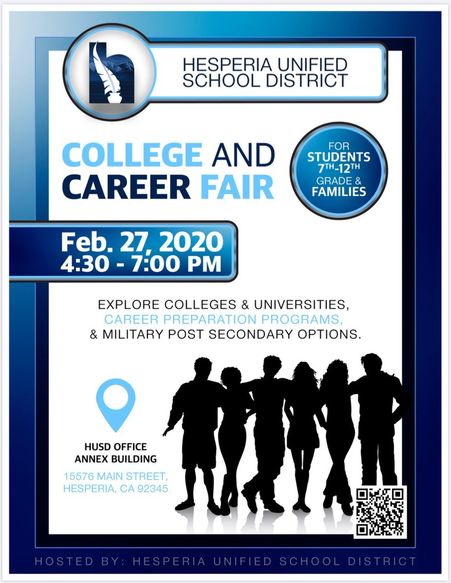 College and Career Fair Open to ALL students, this Thursday, from 4:30-7:00, at the District Office Over 50 booths available to help students plan their future! @HesperiaUnified @CityofHesperiapic.twitter.com/pFFlUXVYTn