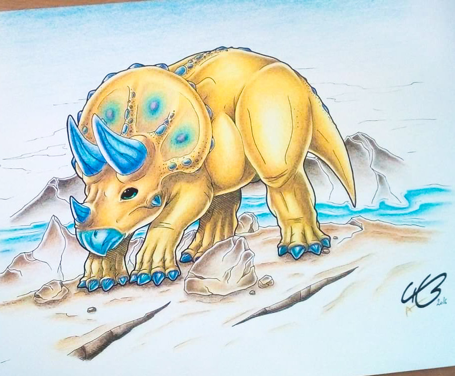 I colored this Triceratops 🦖🦕 drawn by my husband @Kyan0s with watercolor pencils ^^  #FebDechART #watercolor #dinosaur #triceratops #drawing