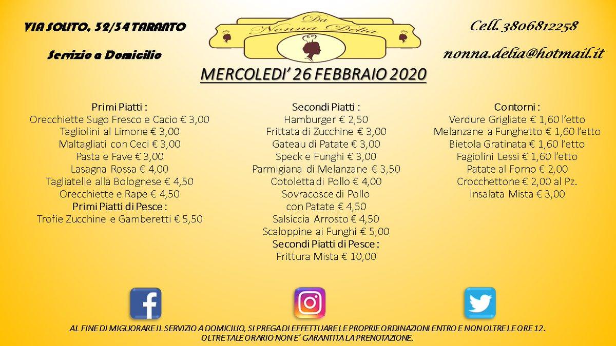 "Menù Mercoledì 26 Febbraio 2020 - Gastronomia ""Da Nonna Delia"" @da_nonna_delia #danonnadelia #food #foodlovers #seafood #seafoodlovers #pranzo #lunch #gastronomia #ristorante #taranto #puglia #tagsforlike #tagsforfollow #follow #like4likes #pugliadavedere #pugliacom #pugliafood"