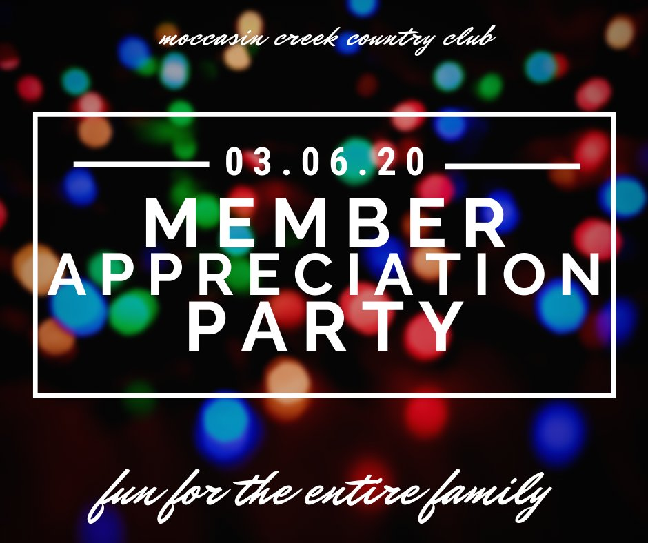 RSVP for the Member Appreciation Party now by calling the Clubhouse at 226-0900 or email Julie@moccasincreekcc.com.     #mc3 #party #members #fun #family #friends #food #lifeisbetteratMoccasinCreek