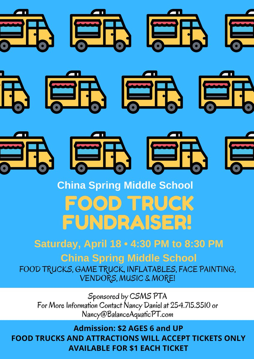 Mark your calendars for our 2nd Annual CSMS Food Truck Festival on April 18th!! #ourWHY @chinaspringisd
