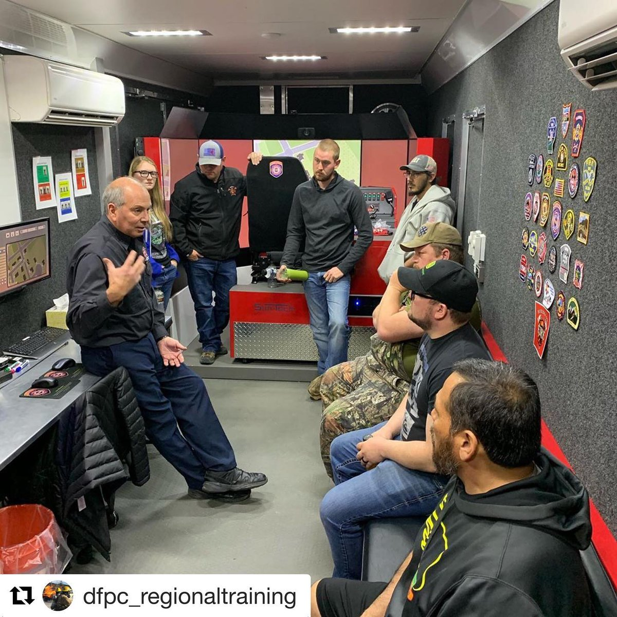 #Repost  DFPCs Regional Training Officer, Don Distefano in Akron, CO with our Mobile Driver Simulator Unit (MDSU), on-scene apparatus placement was a highlight conversation point. #driver  #drivertraining  #fire  #firefighter  #training  #firetraining  #colorado  #cofire  #dfpc