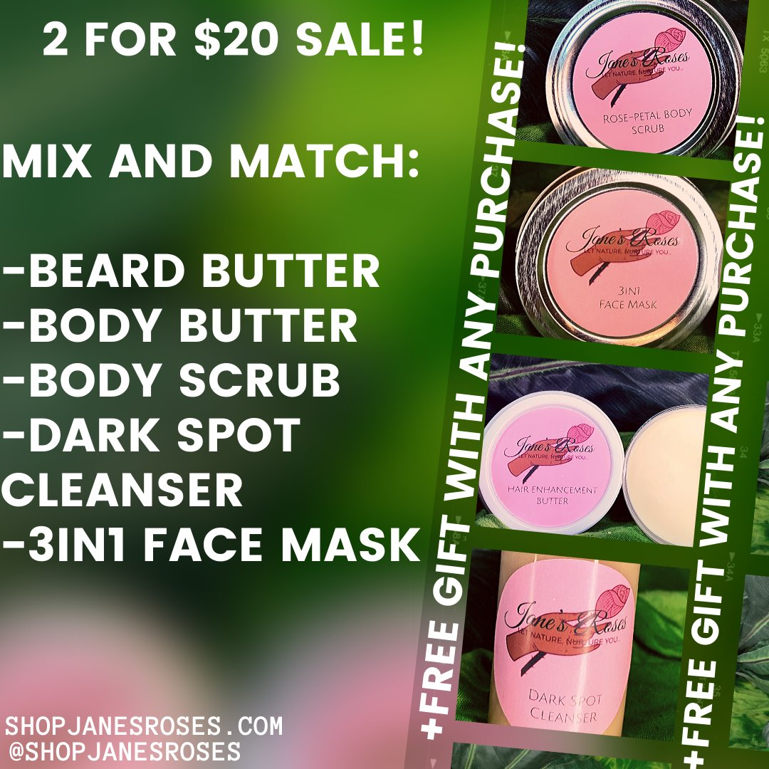 Hey rosebuds!    Take home a FREE gift with today's sale! Act NOW, cause you know will be SOLDOUT before the end of today!  Be apart of our LAST 2 for $20 sale!  (Last one of the near future that is )    #JanesRoses #SALE #LASTCHANCE #GetInYourSkincareBagpic.twitter.com/Rj6LcW6umS